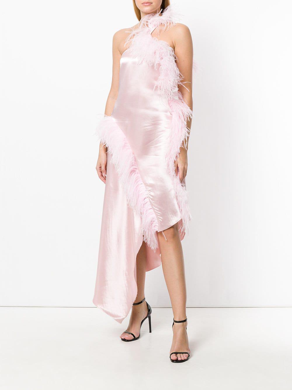 e7022f7a4ed Lyst - Robe mi-longue asymétrique à plumes d autruche Marques Almeida en  coloris Rose