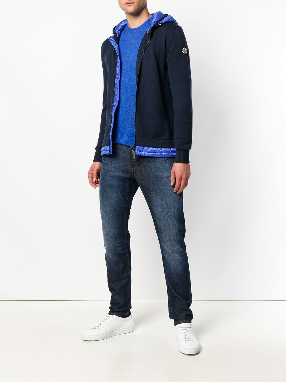 5342db243242 Moncler Padded Panel Zip Front Hoodie in Blue for Men - Lyst