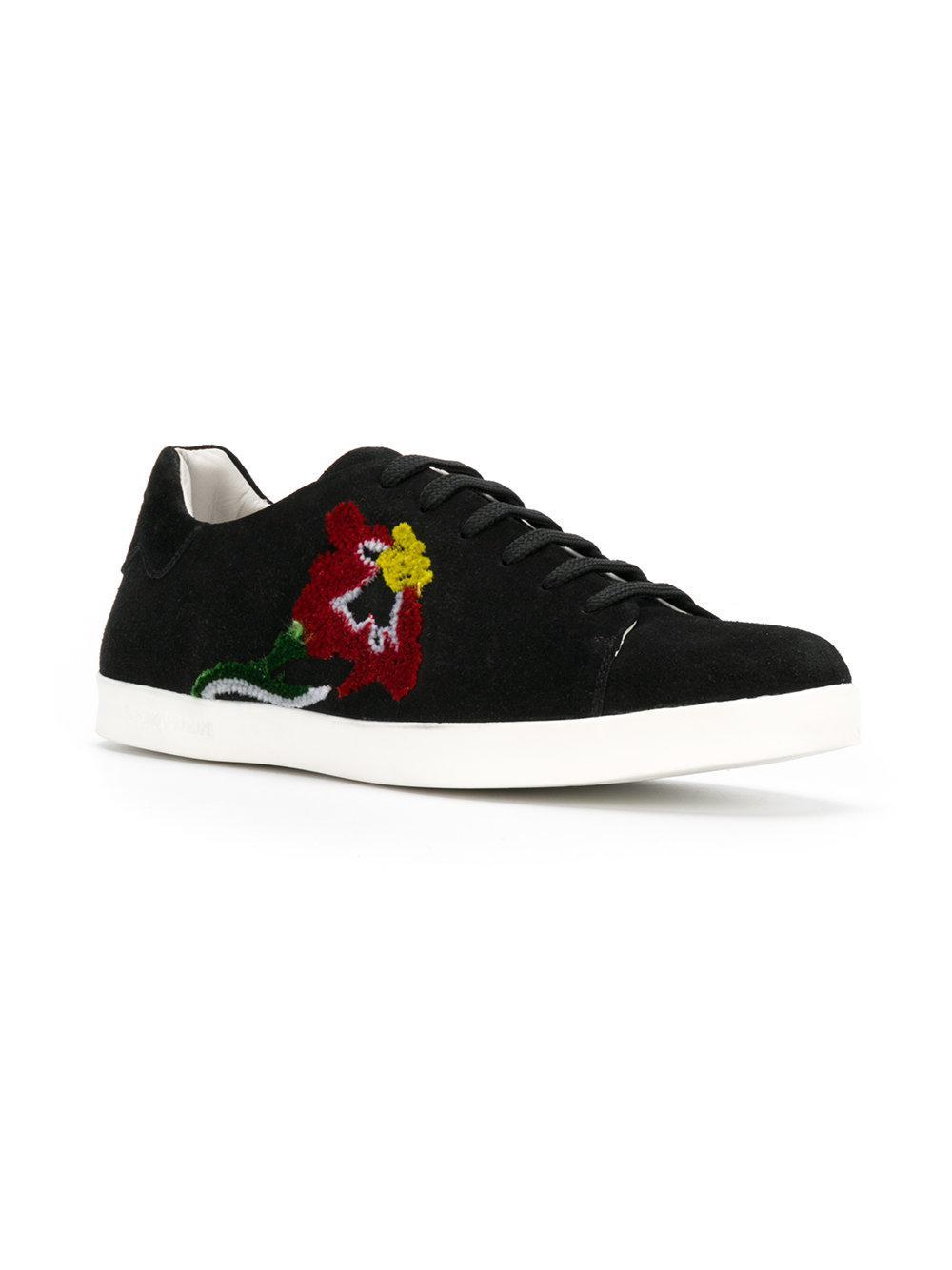 Armani Flower embroidered sneakers 4j6mZIxAjd