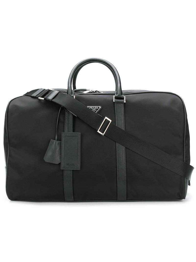 2a4932821196 Prada Saffiano Panel Holdall in Black for Men - Lyst