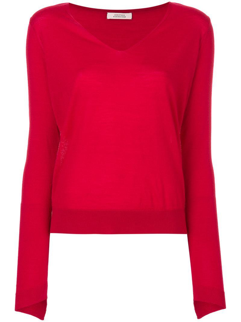 lyst dorothee schumacher v neck jumper in red. Black Bedroom Furniture Sets. Home Design Ideas