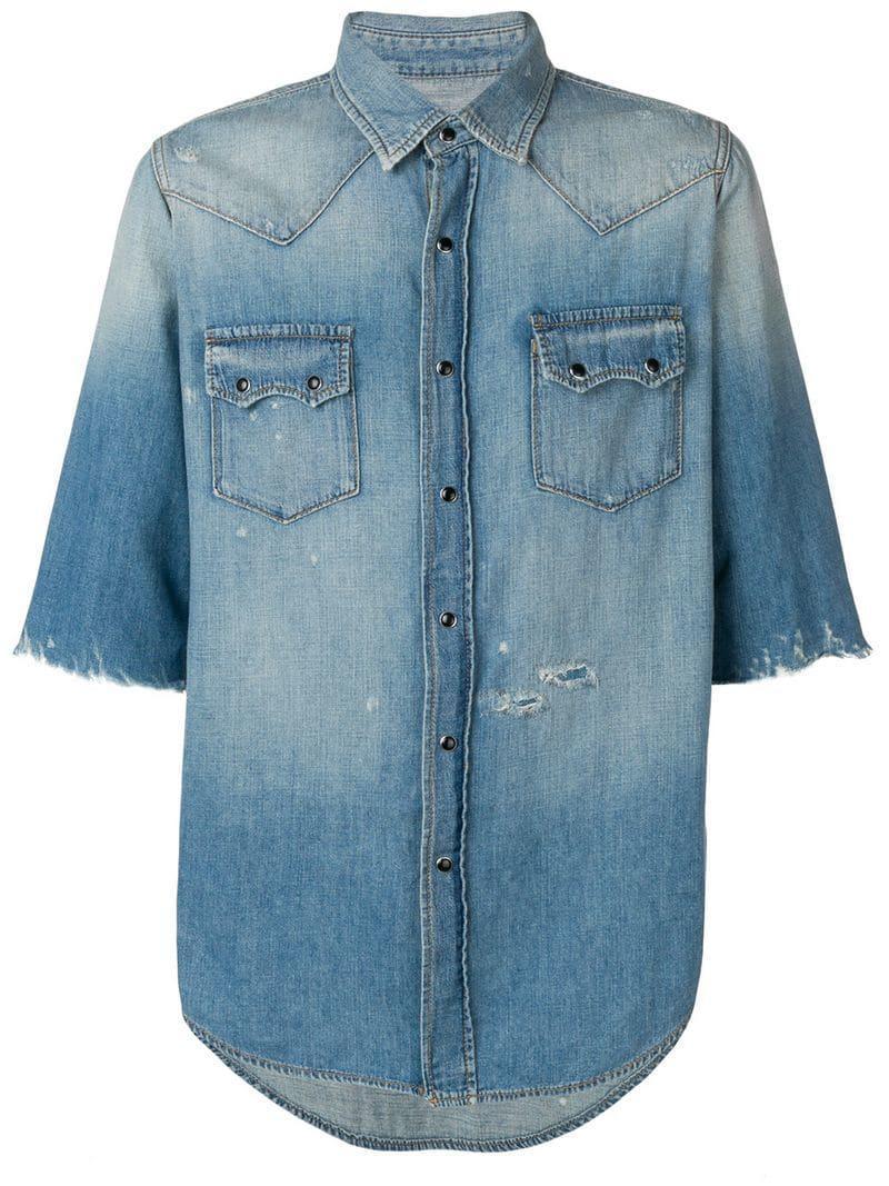e9d182d1a3 Lyst - Saint Laurent Distressed Denim Shirt in Blue for Men
