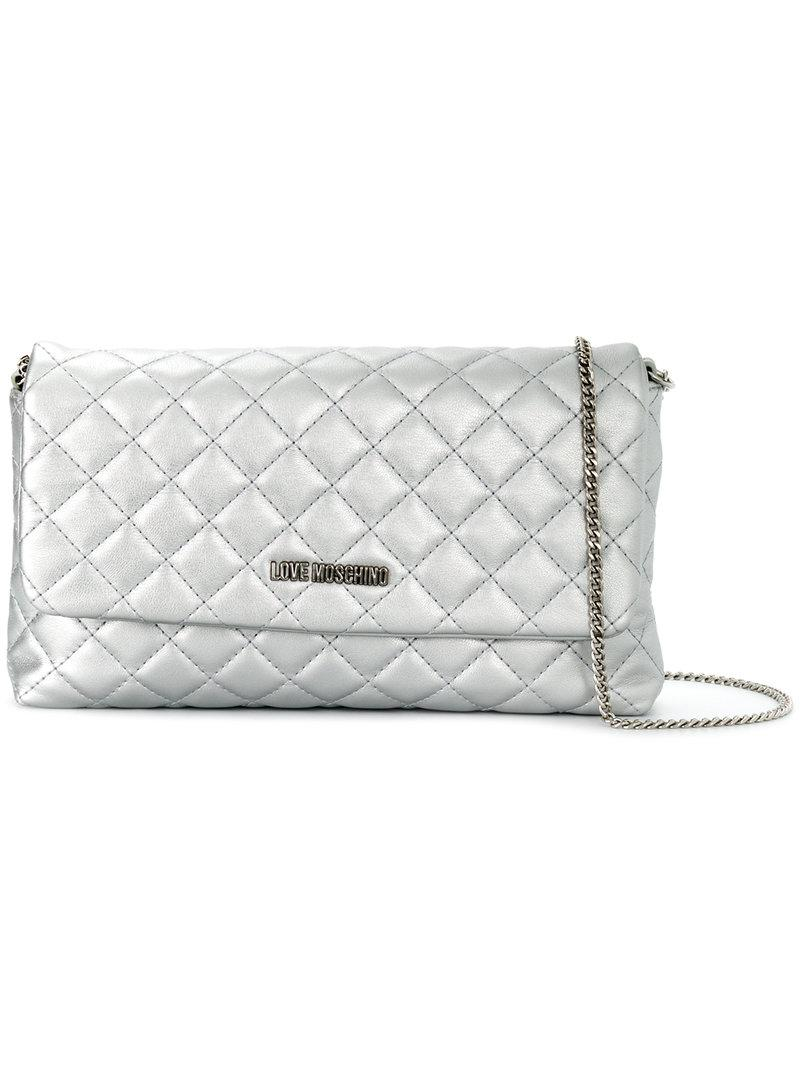 3393fb4175 Love Moschino Quilted Shoulder Bag in Metallic - Lyst