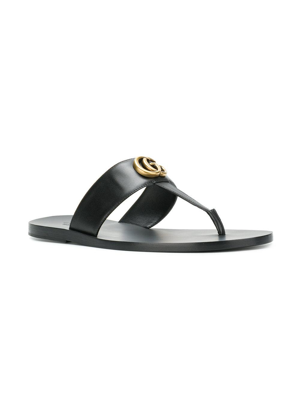 Leather Double G sandal - Black Gucci
