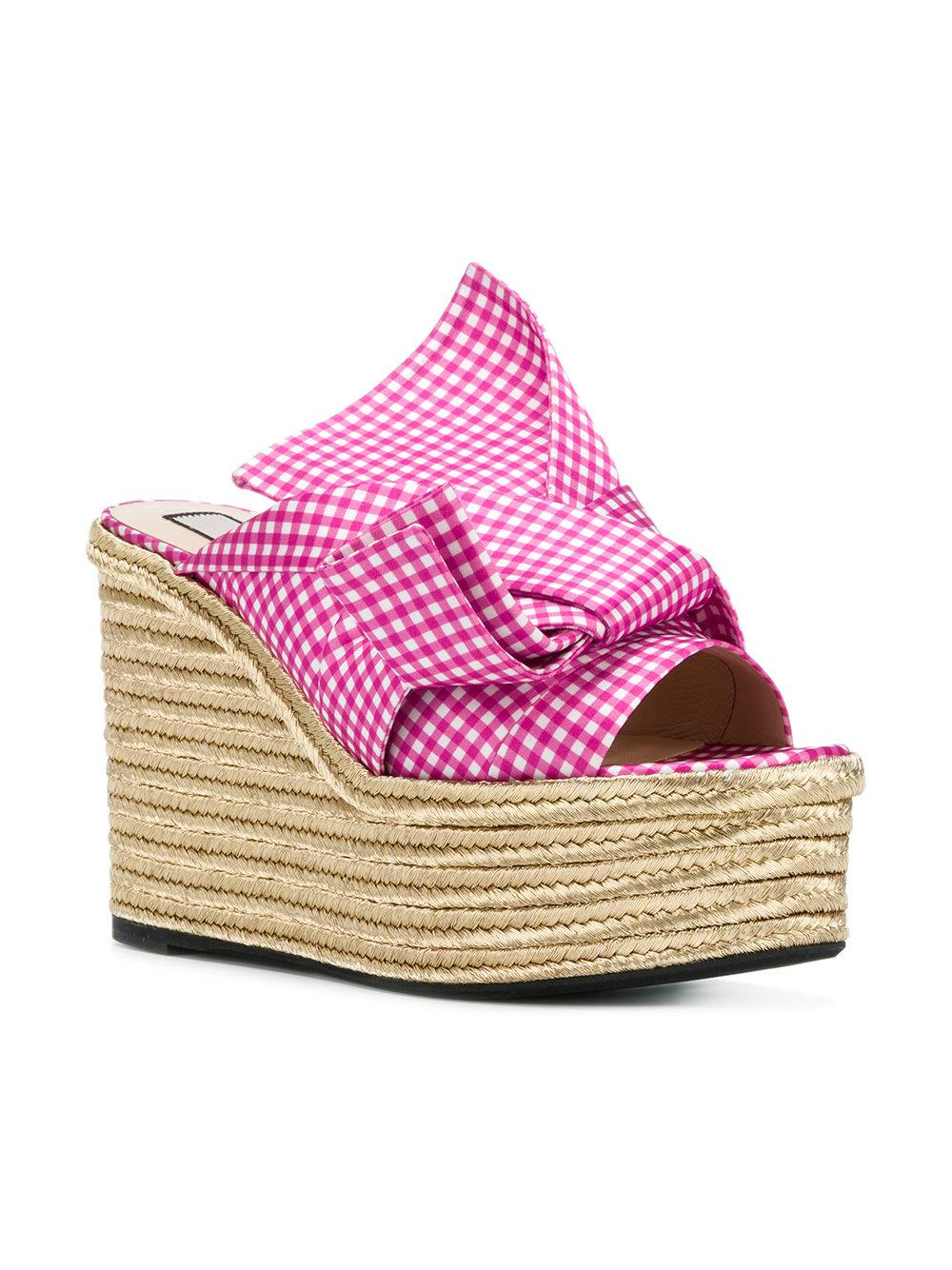 No21 Gingham knotted bow wedges