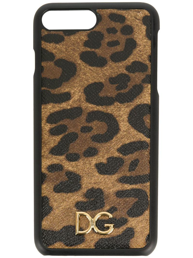 fe2e252d6bb1 Dolce   Gabbana Leopard Print Iphone 7 Plus Case in Brown - Lyst