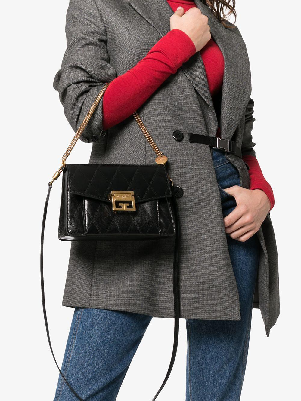 bf073c7f66 Lyst - Givenchy Black Gv3 Small Quilted Leather Shoulder Bag in Black - Save  14%