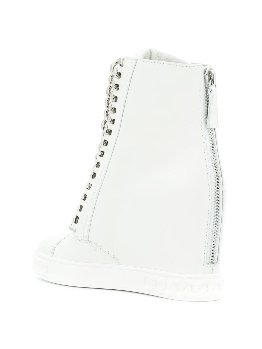 7c171d777c4 Casadei Concealed Wedge Sneakers in White - Lyst