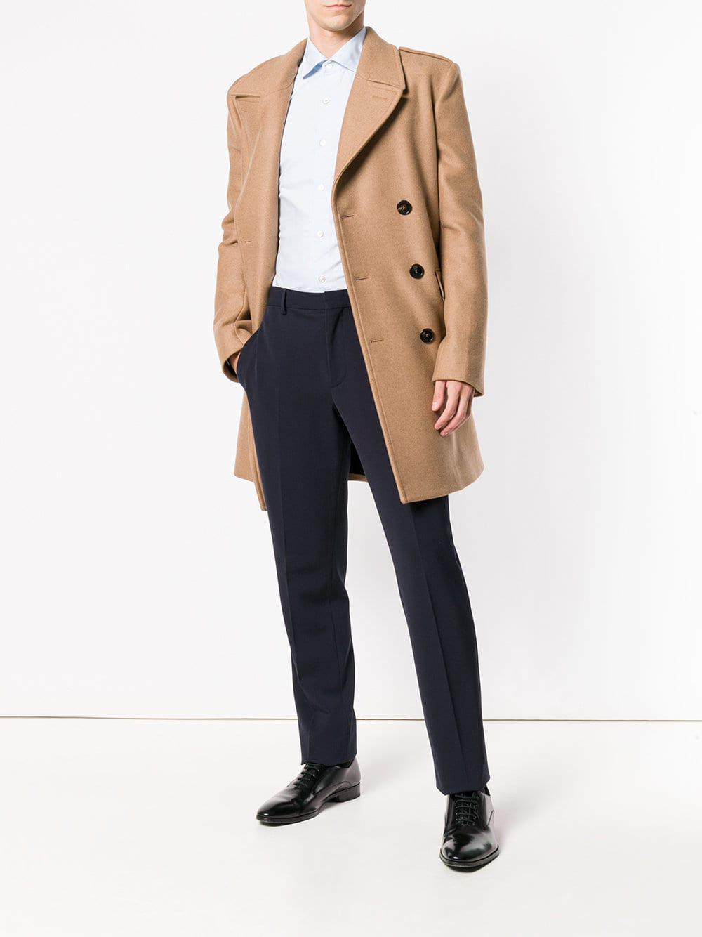 5d1ef05e3f5d6 Lyst - Saint Laurent Double Breasted Coat in Natural for Men