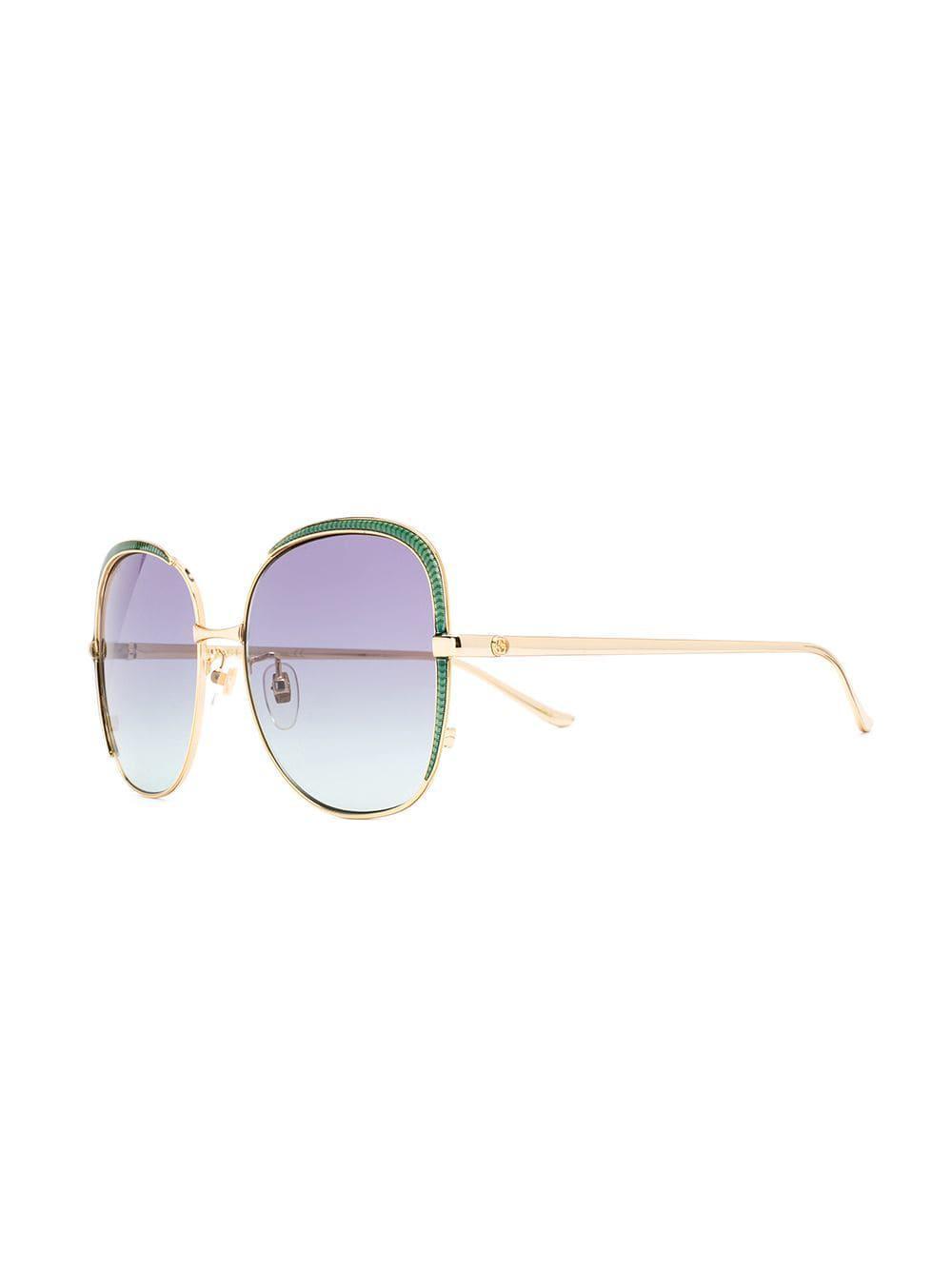 fdf63867097 Gucci - Metallic Oversized Frame Sunglasses - Lyst. View fullscreen