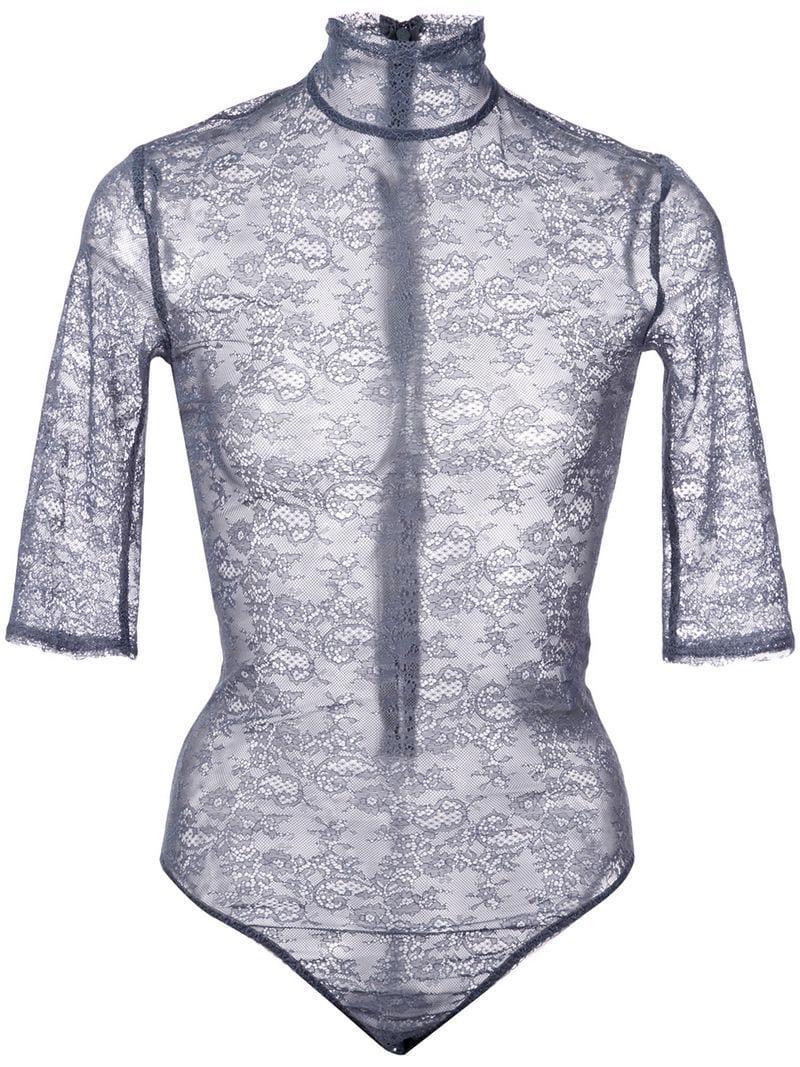 cdca640b8a Nina Ricci Sheer Embroidered Bodysuit in Blue - Lyst