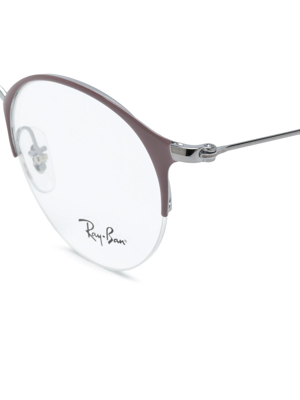 Lyst - Ray-Ban Round-frame Half-rim Glasses