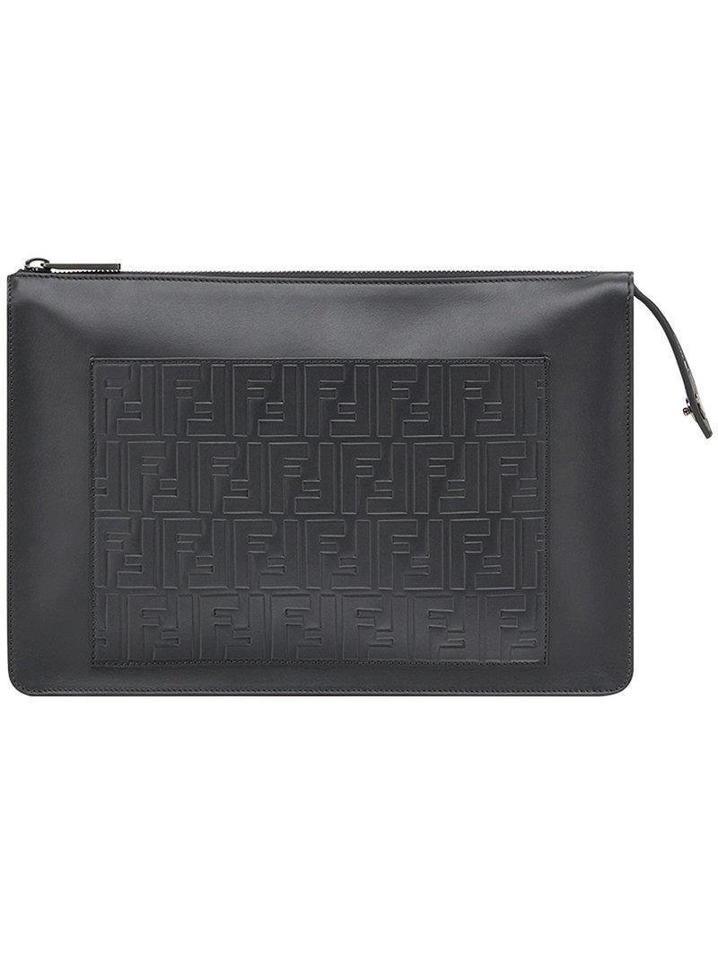 Lyst - Fendi Embossed Ff Shoulder Bag in Black for Men 32b310ab2b17c