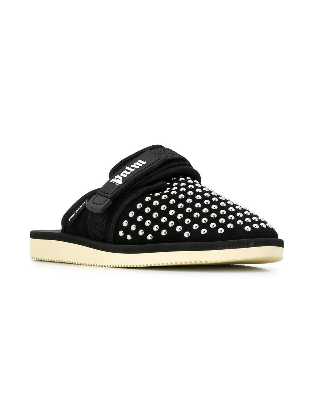 360c89186c7 Lyst - Palm Angels Studded Logo Slippers in Black for Men
