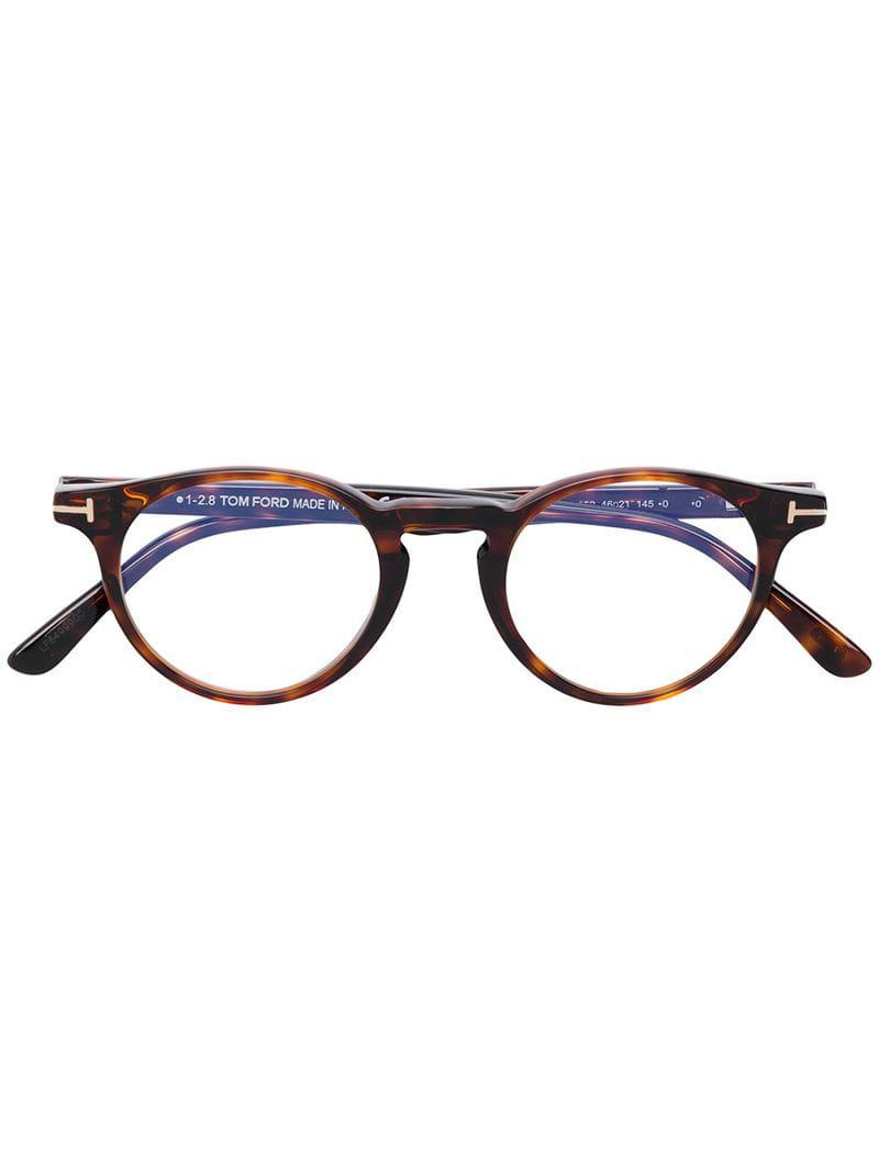 1ba1ce6d5ca Lyst - Tom Ford Round Acetate Glasses in Brown