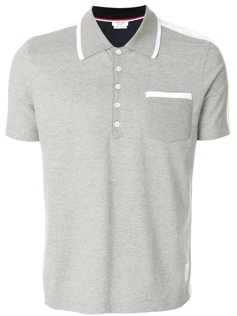 57b61697f0a Thom Browne Bicolor Half-and-half Jersey Polo in Gray for Men - Save ...