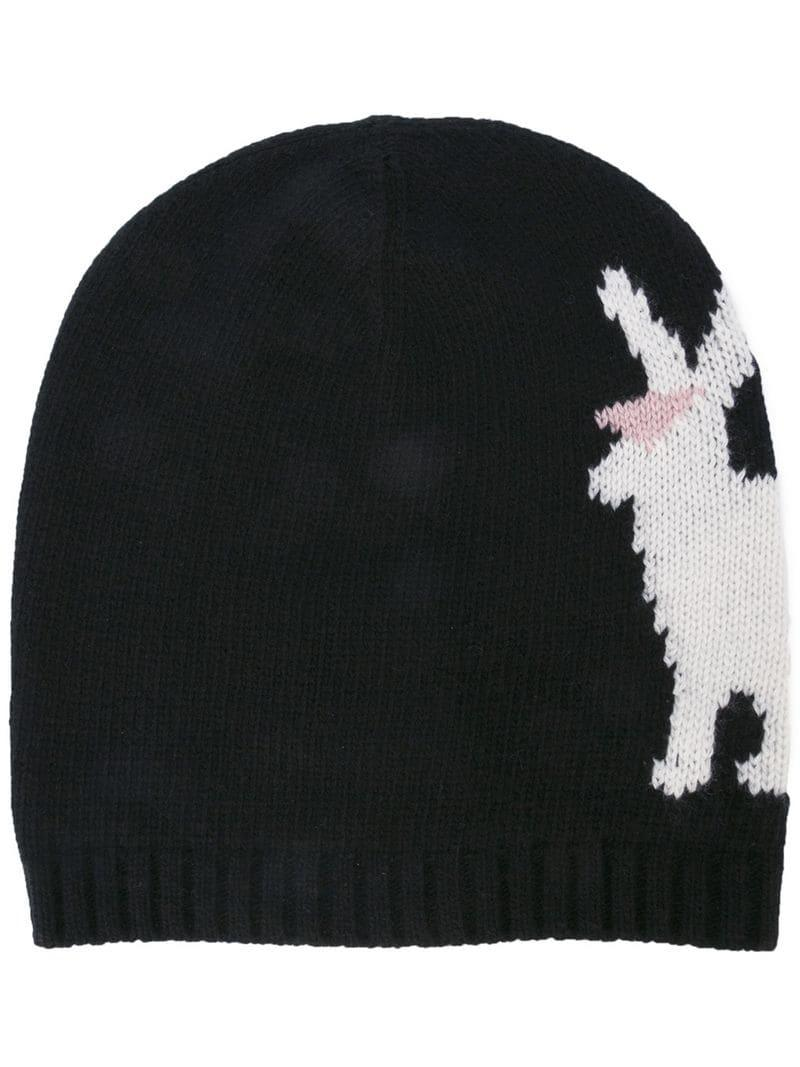 Prada Rabbit Intarsia Beanie in Black for Men - Lyst 3c9675c8ca4b