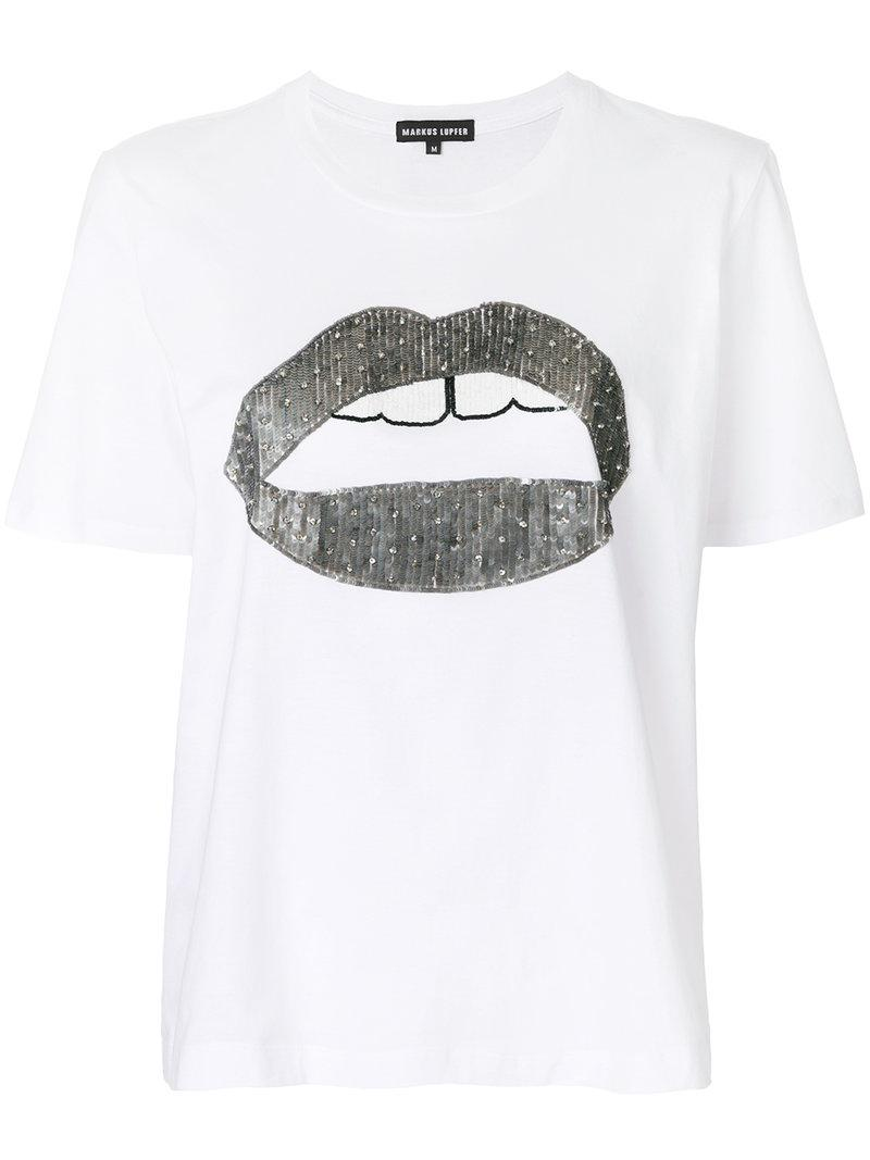 Markus Lupfer Alex Lips Sequined T Shirt In White Lyst