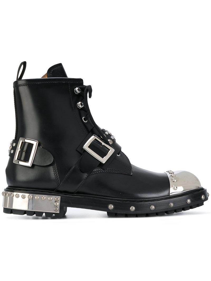 f0c29bf8579a1 Alexander Mcqueen Metal Toecap Boots in Black for Men - Save ...