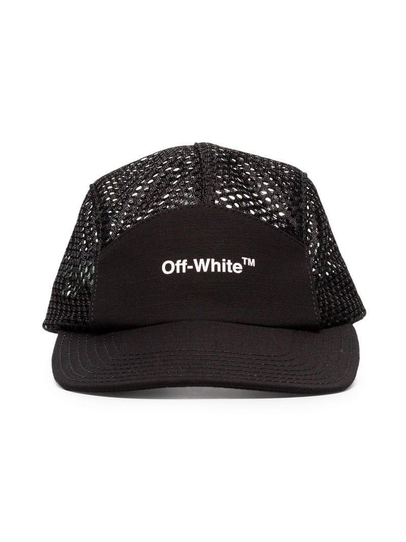 99eed48c0e9 Lyst - Off-White c o Virgil Abloh Black Logo Print Mesh Cap in Black ...