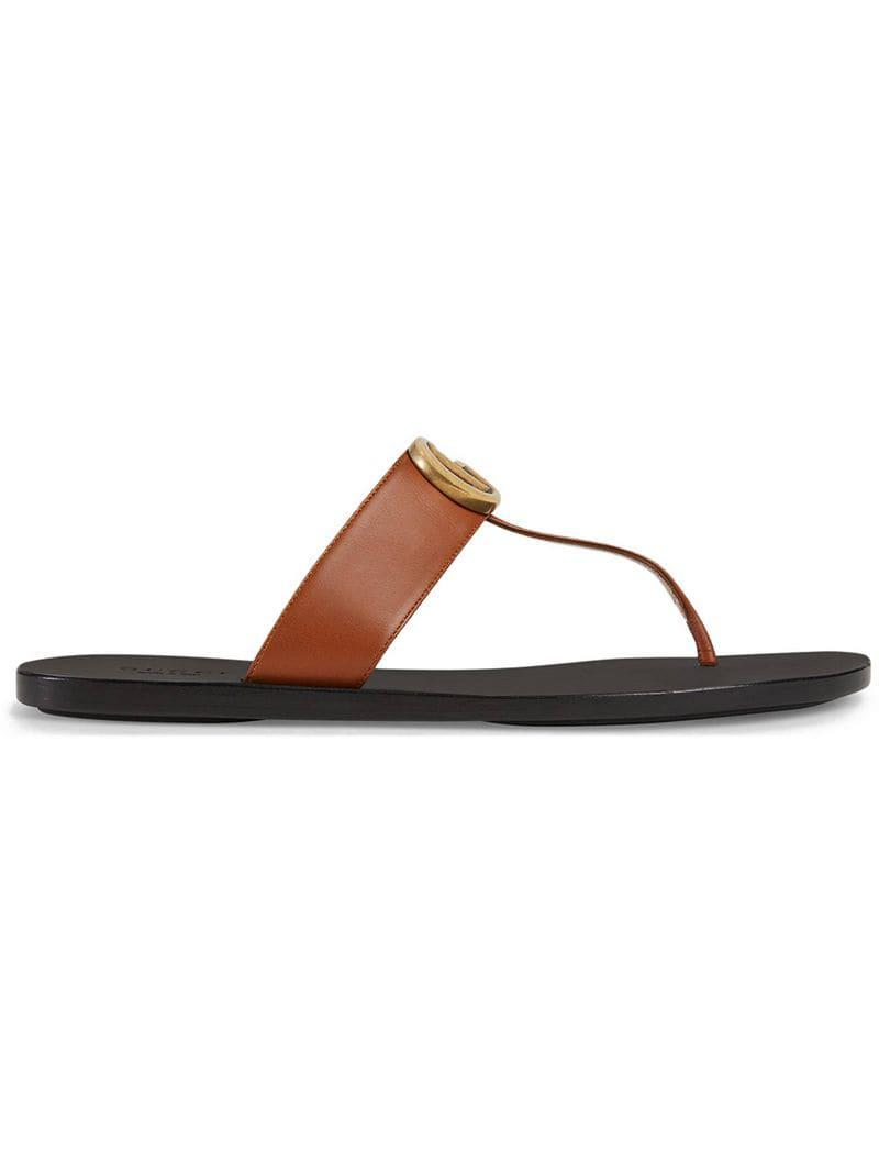 c97bec67202 Gucci Leather Thong Sandal With Double G in Brown - Lyst