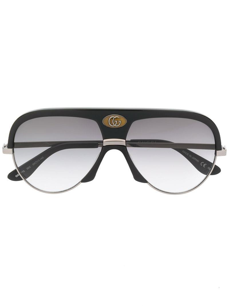 536f6316453c5 Lyst - Gucci Oversized Aviator Frame Sunglasses in Black