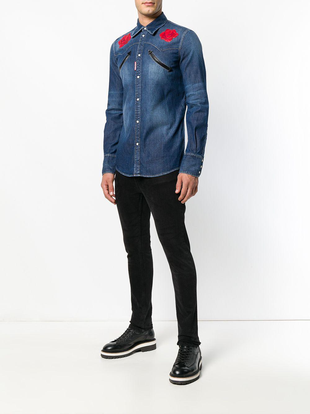 10020e130a DSquared² Flower Denim Shirt in Blue for Men - Lyst