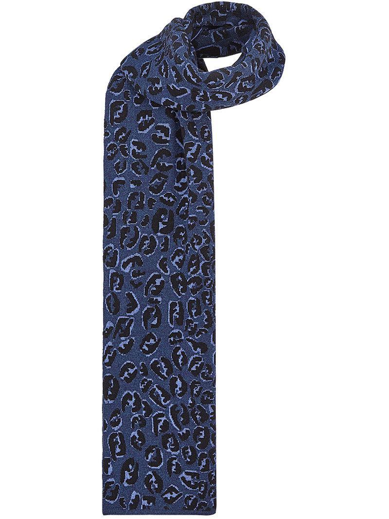 Ff Éclaboussures Écharpe - Bleu Fendi 0NGCrGRMl6
