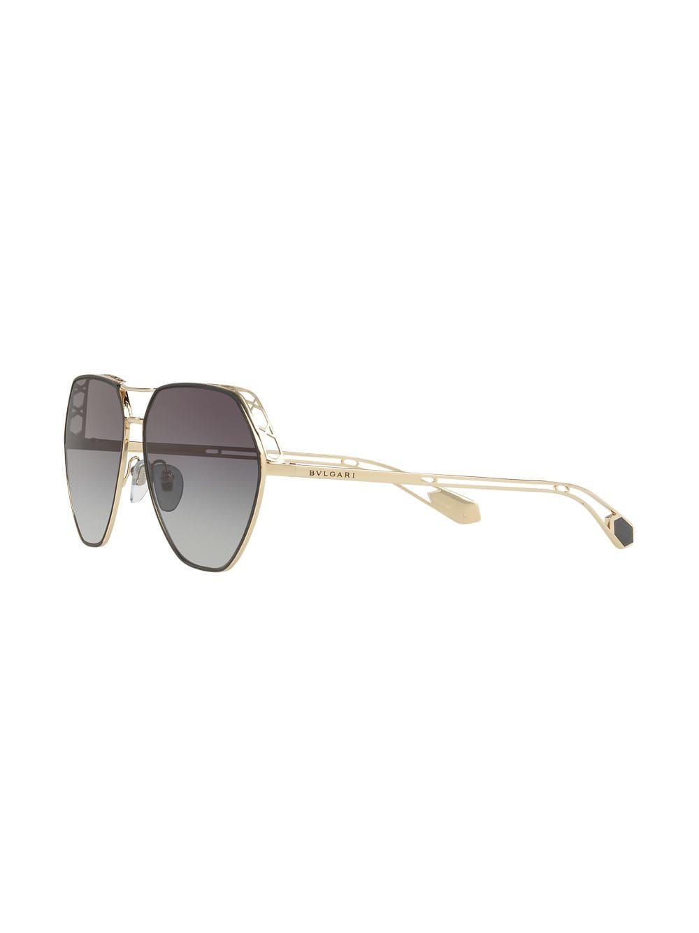 Bvlgari Hexagonal Metallic Sunglasses Lyst Frame In xABwzYaq