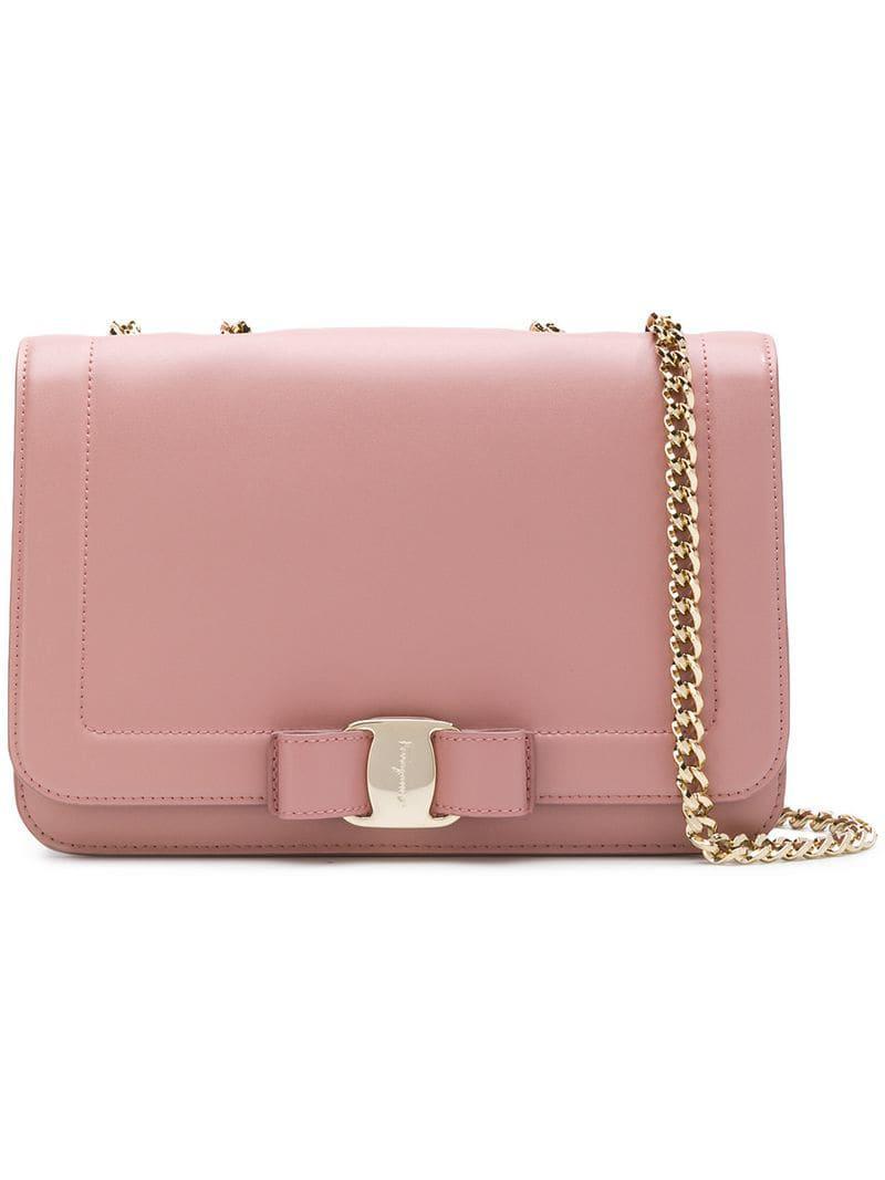 5df695a3818d Lyst - Ferragamo Vara Shouder Bag in Pink