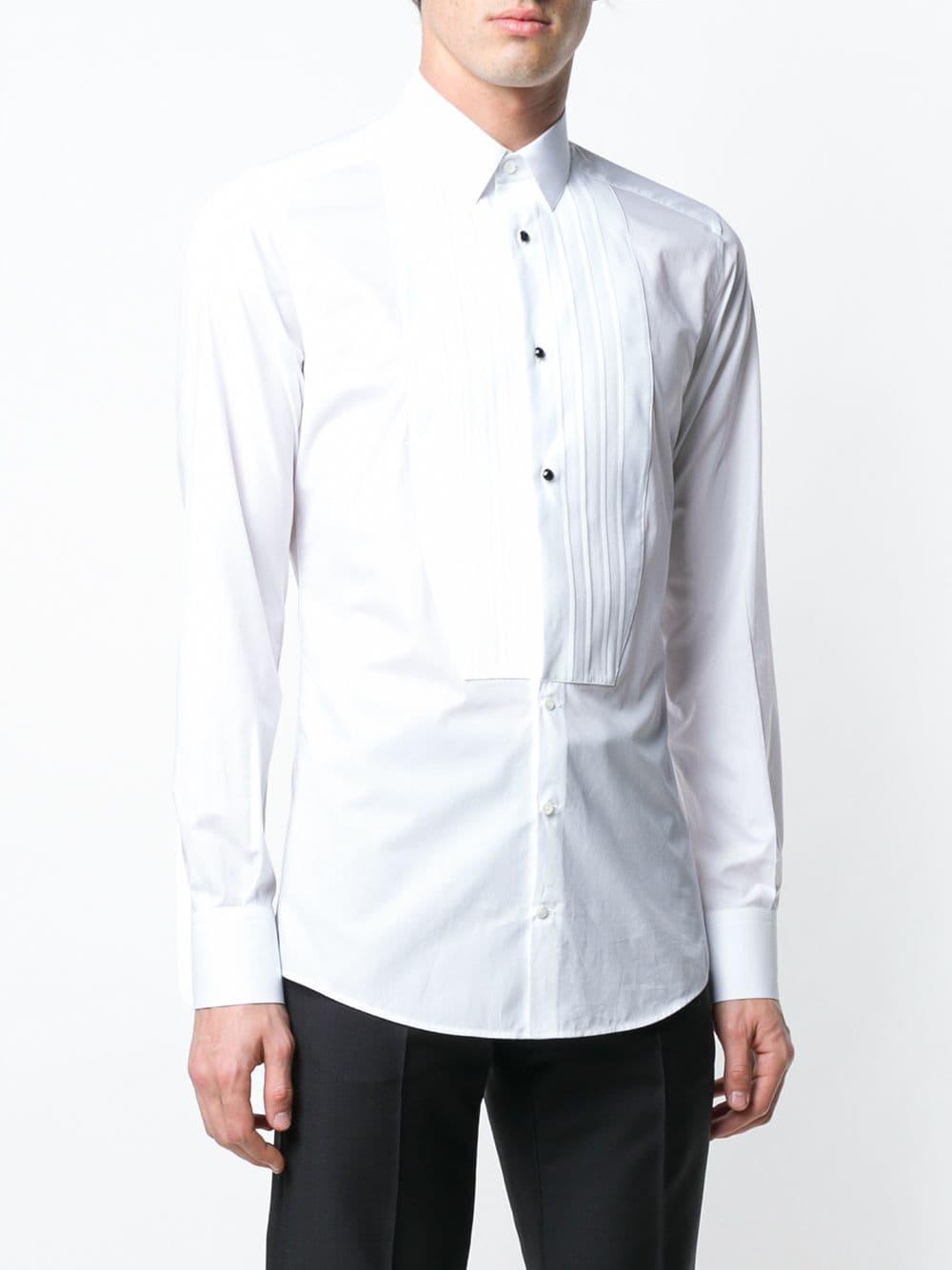 3fa39579c44032 ... White Pleated Bib Shirt for Men - Lyst. View fullscreen