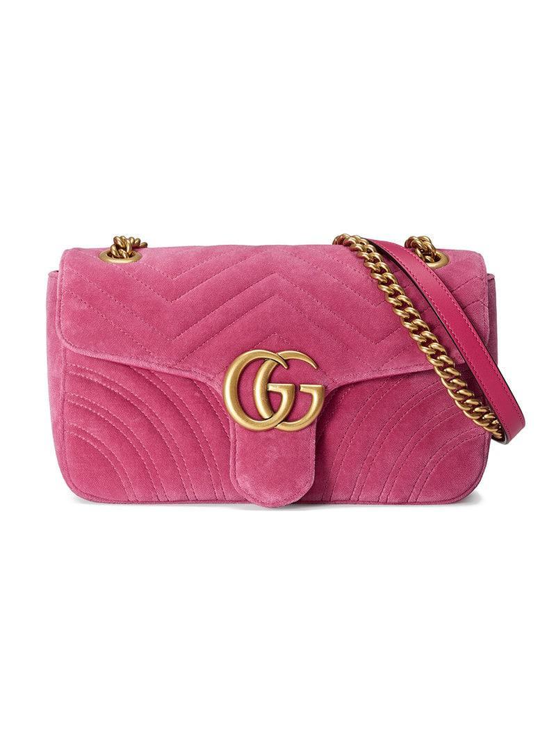 d8ccc18c1eb Gucci GG Marmont Chevron Velvet Shoulder Bag in Pink - Save 21% - Lyst