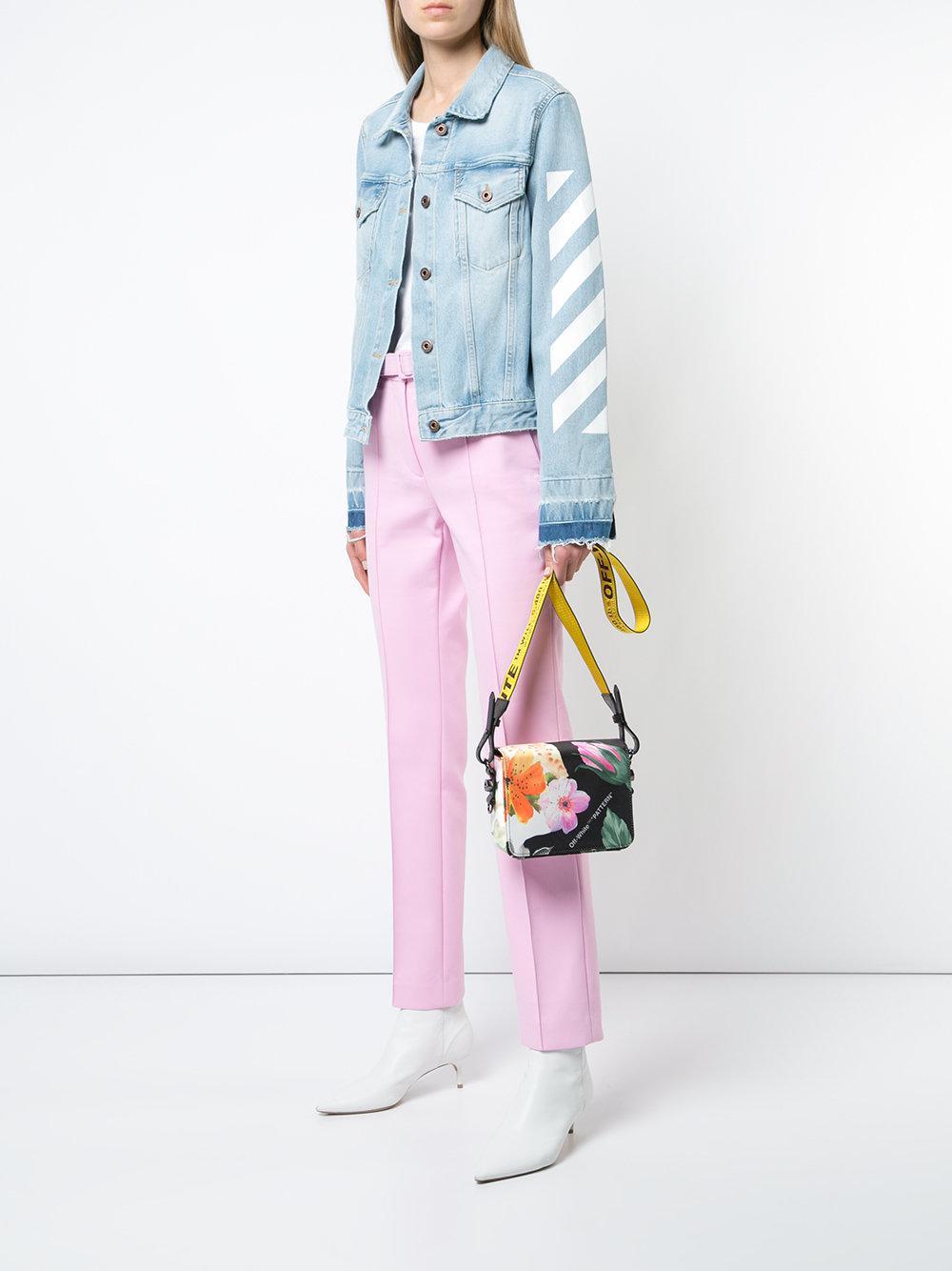 floral-print satin shoulder bag - Black Off-white V1c8EtZWwg