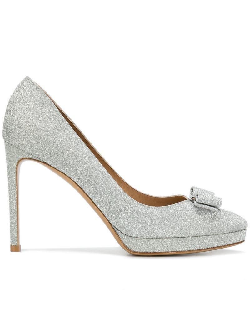 7919579a4 Ferragamo. Women's Metallic Glitter Vara Bow Court Shoes