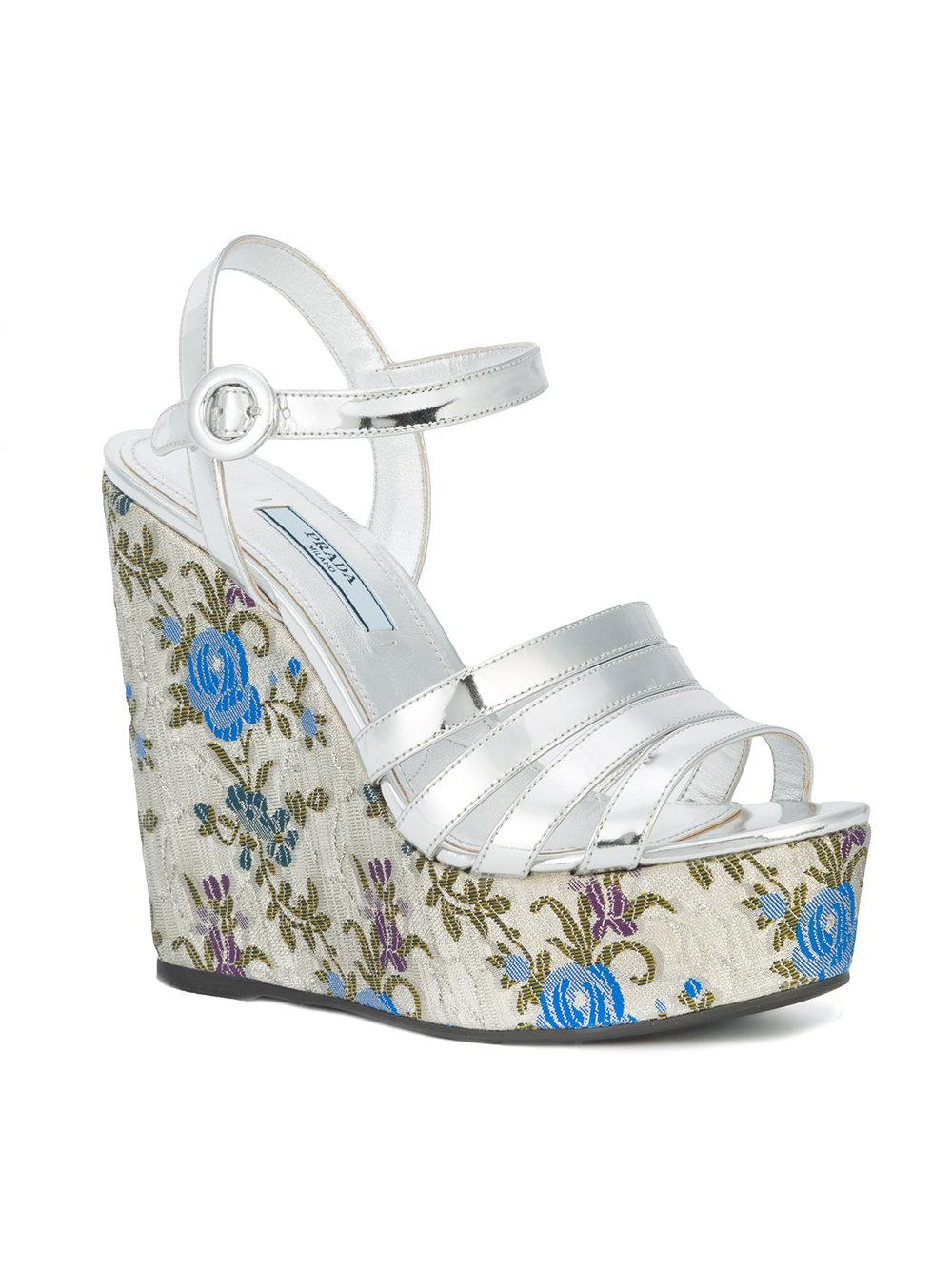 c34979b2cb54 Lyst - Prada Floral Print Wedge Sandals in Metallic