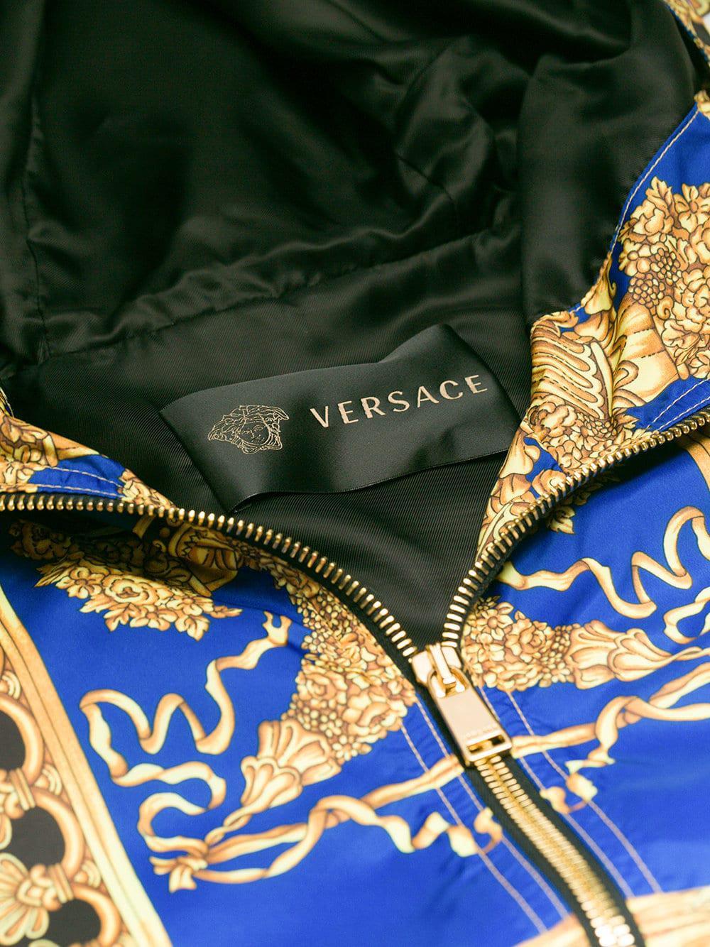 7989aa28c560 En En Coupe Motif Baroque Bleu Bleu Versace Homme Lyst Coloris À Vent Pour  8dWWqS