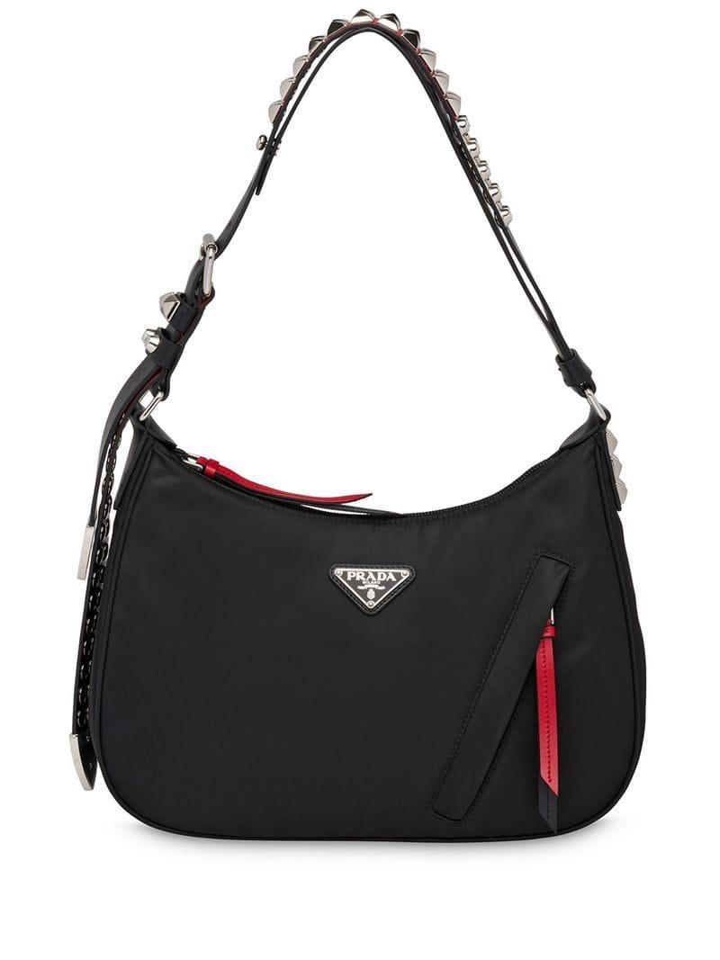 5127c0abeb57 Prada Studded Hobo Bag in Black - Lyst