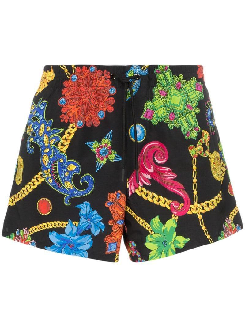 46876d2ec9 Lyst - Versace Jewel Print Drawstring Swim Shorts in Black for Men