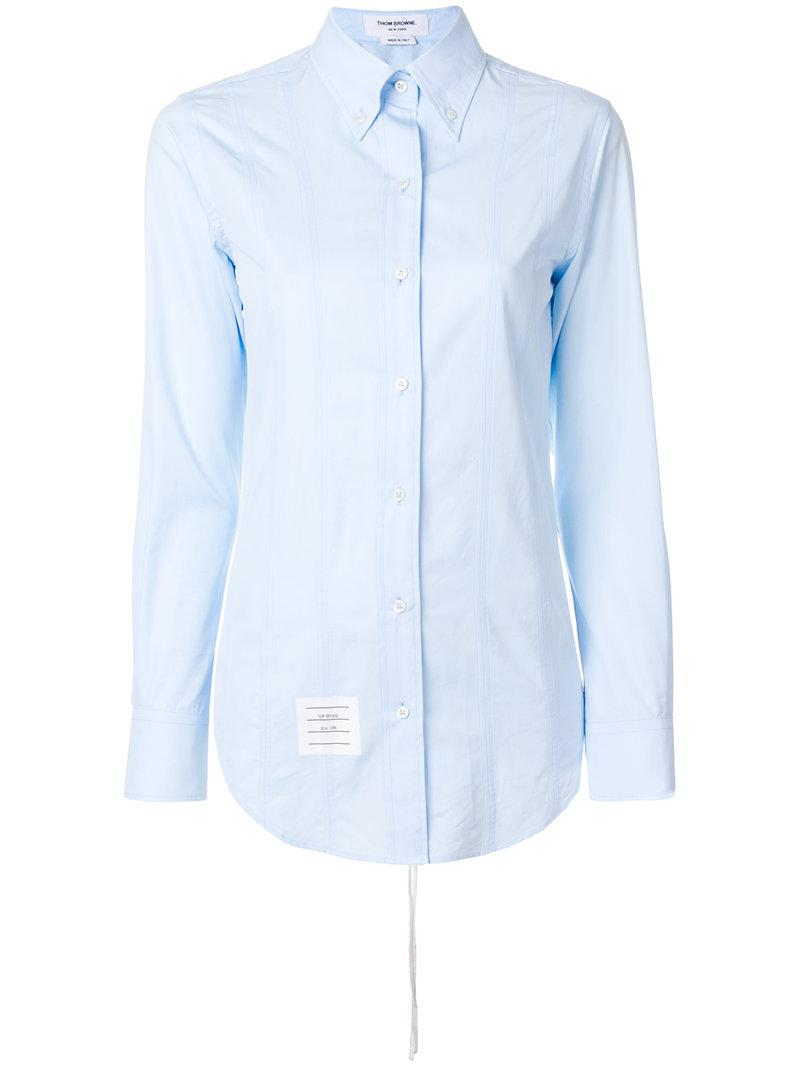 Classic Long Sleeve Button Down Point Collar Shirt W/ Fray In Solid Oxford W/ Engineered Center RWB Stripe - Blue Thom Browne View Cheap Price Online Cheap Price Buy Newest Fashion Style For Sale Buy Cheap How Much 2gbVcNIX