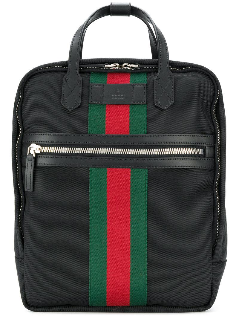 Gucci Web Embellished Backpack in Black for Men - Lyst 39119f1bca8e0