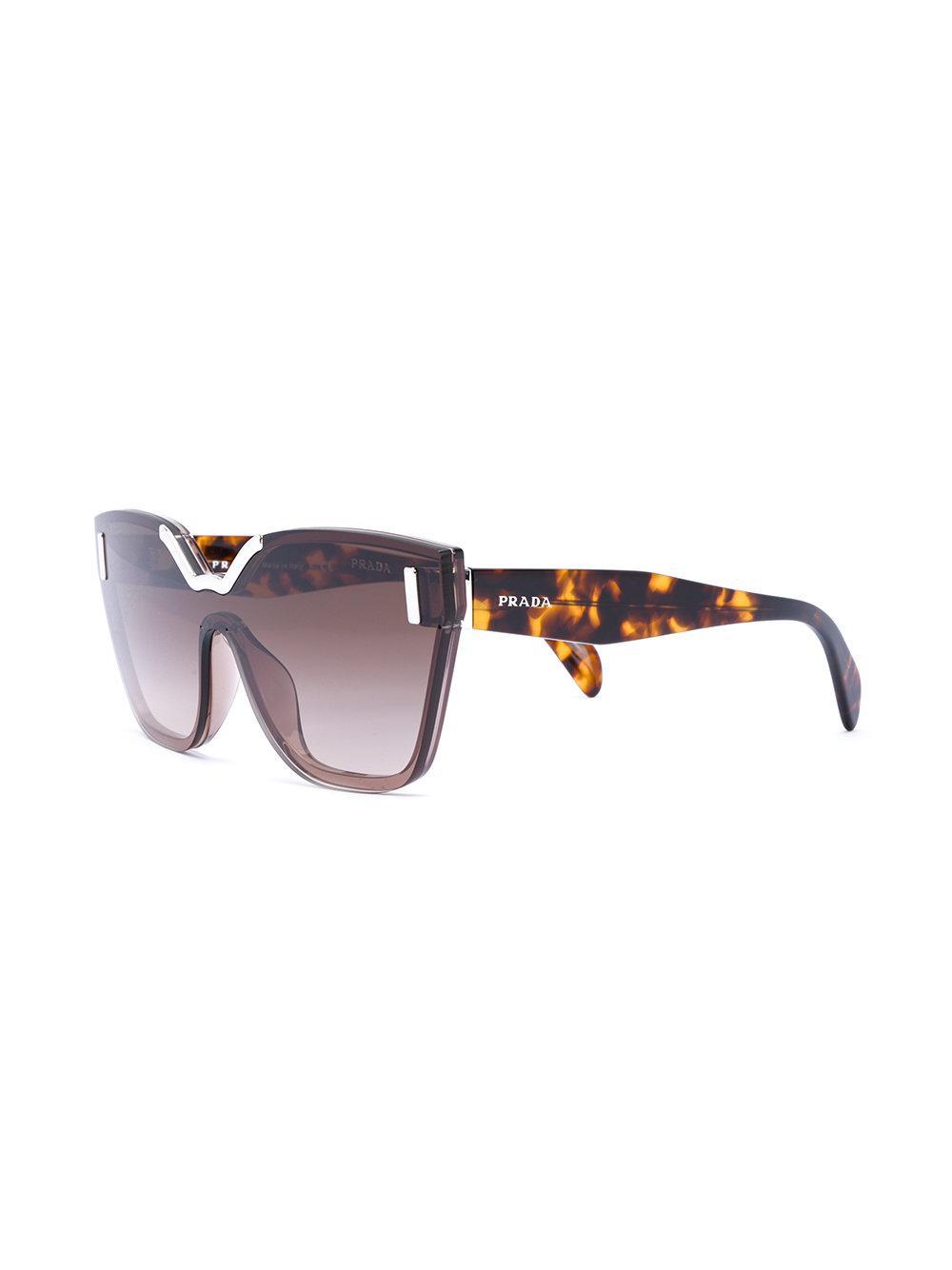 9c75c38268 Prada - Brown Oversized Tortoiseshell Sunglasses - Lyst. View fullscreen