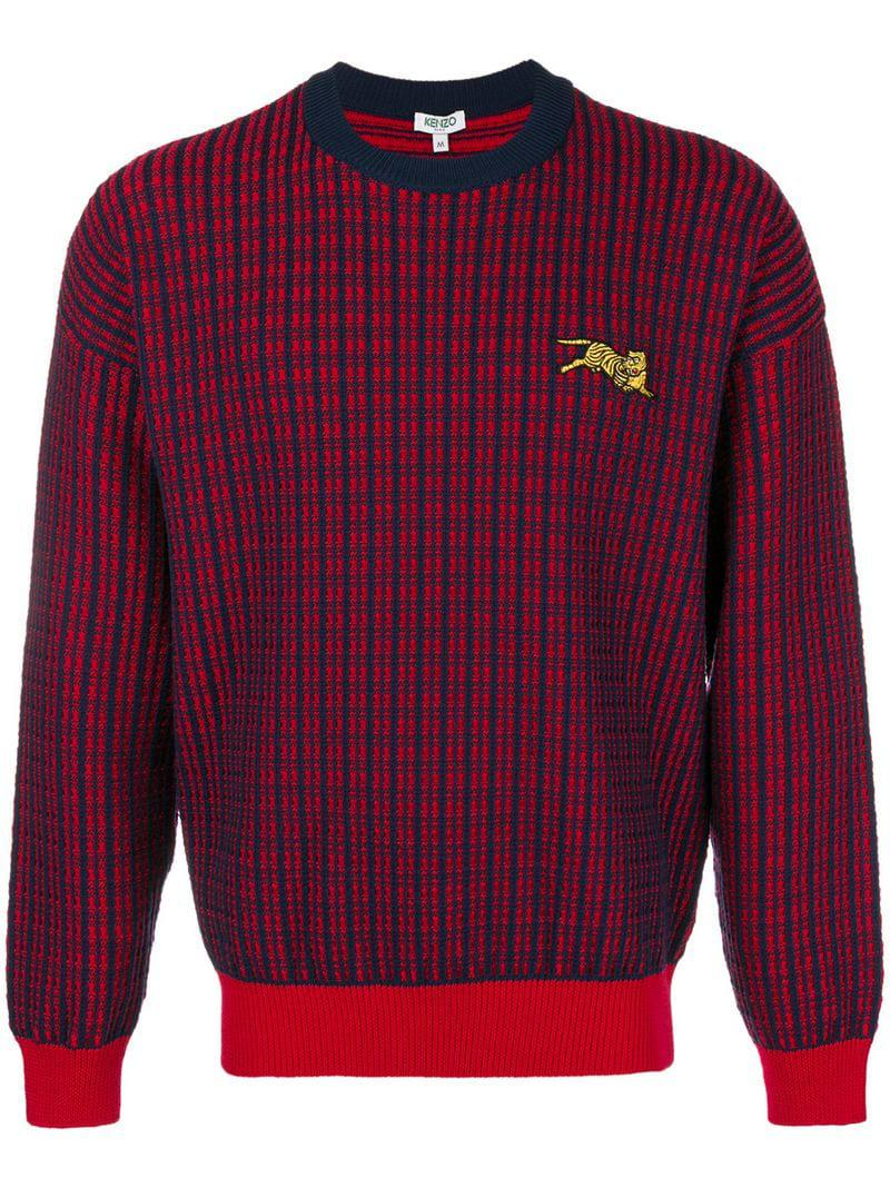 4c0dbe33f Lyst - KENZO Check Knit Sweater in Red for Men