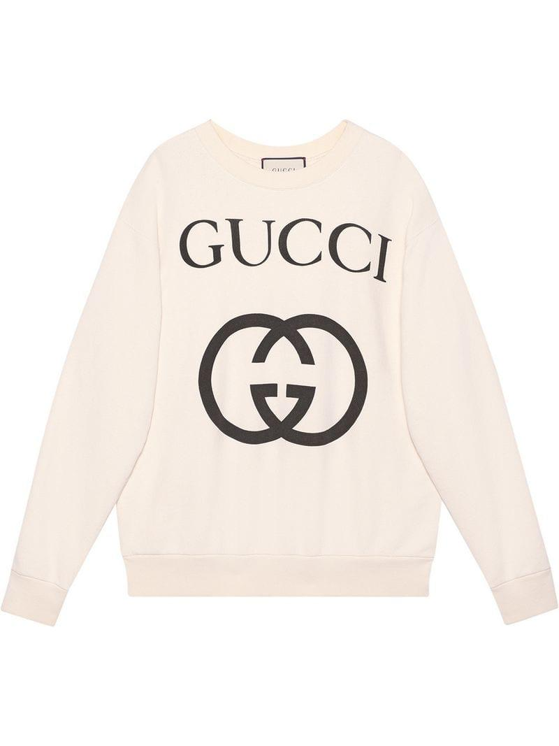 6da6ca243b3 Gucci Oversize Sweatshirt With Interlocking G in White - Lyst