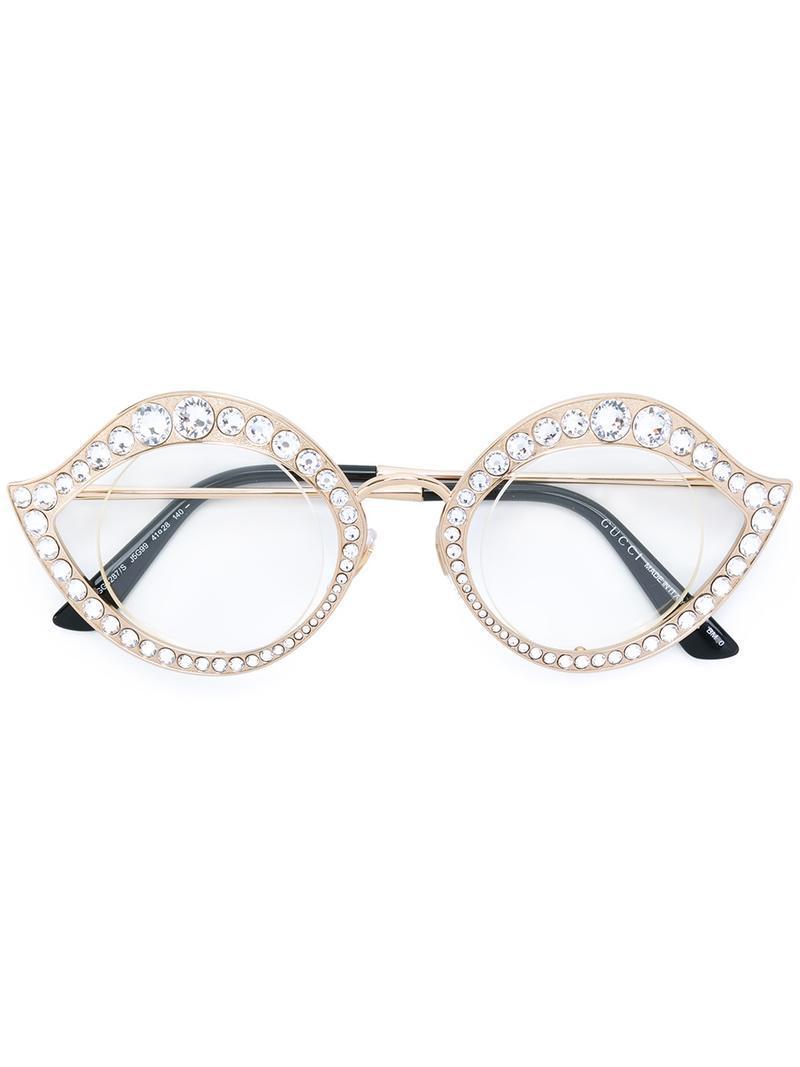 37e7d3dfe Gucci Swarovski Crystals Embellished Glasses in Metallic - Lyst