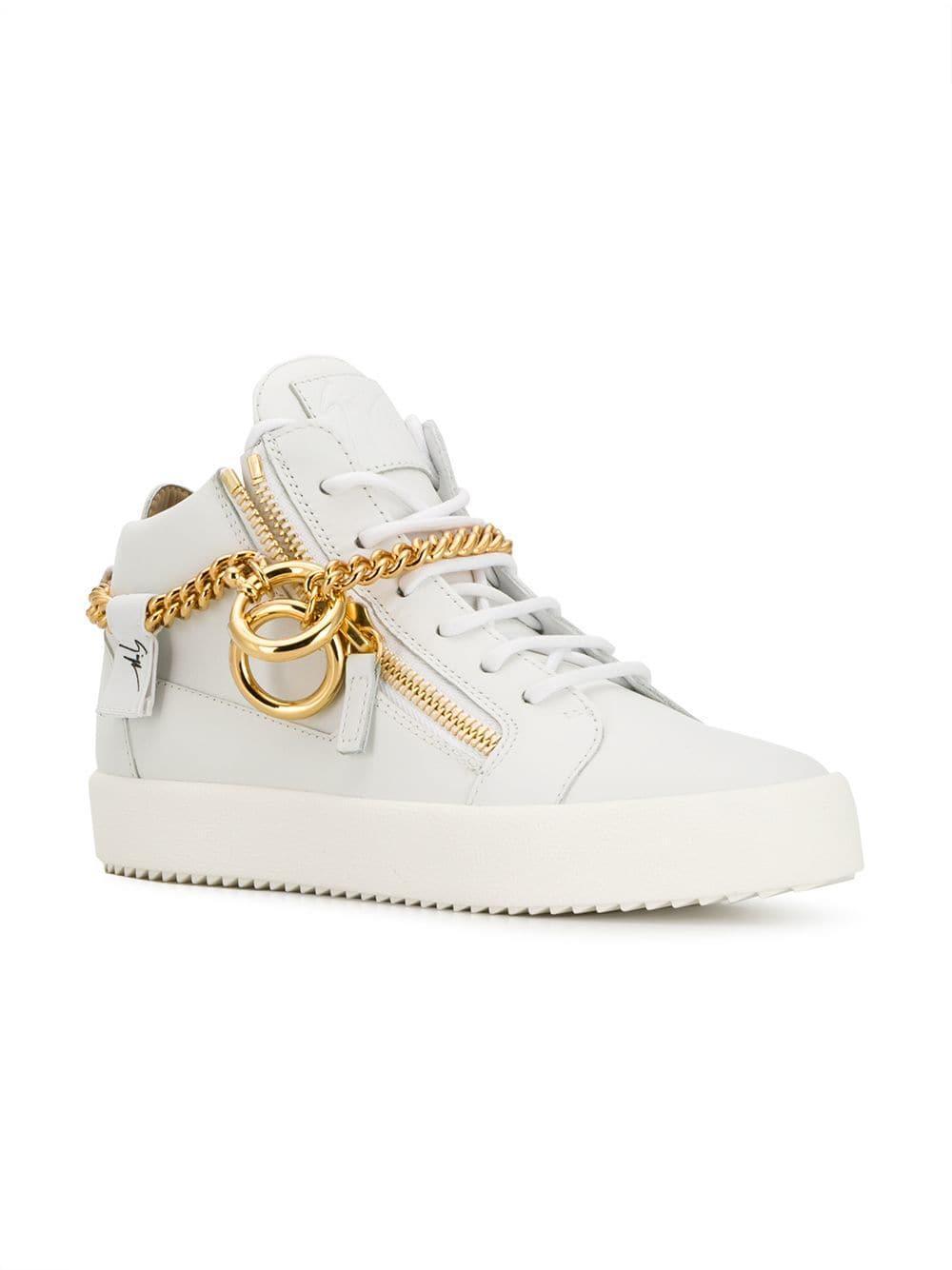 b85bb003ab1a1 Giuseppe Zanotti - White Chain Hi-top Sneakers - Lyst. View fullscreen