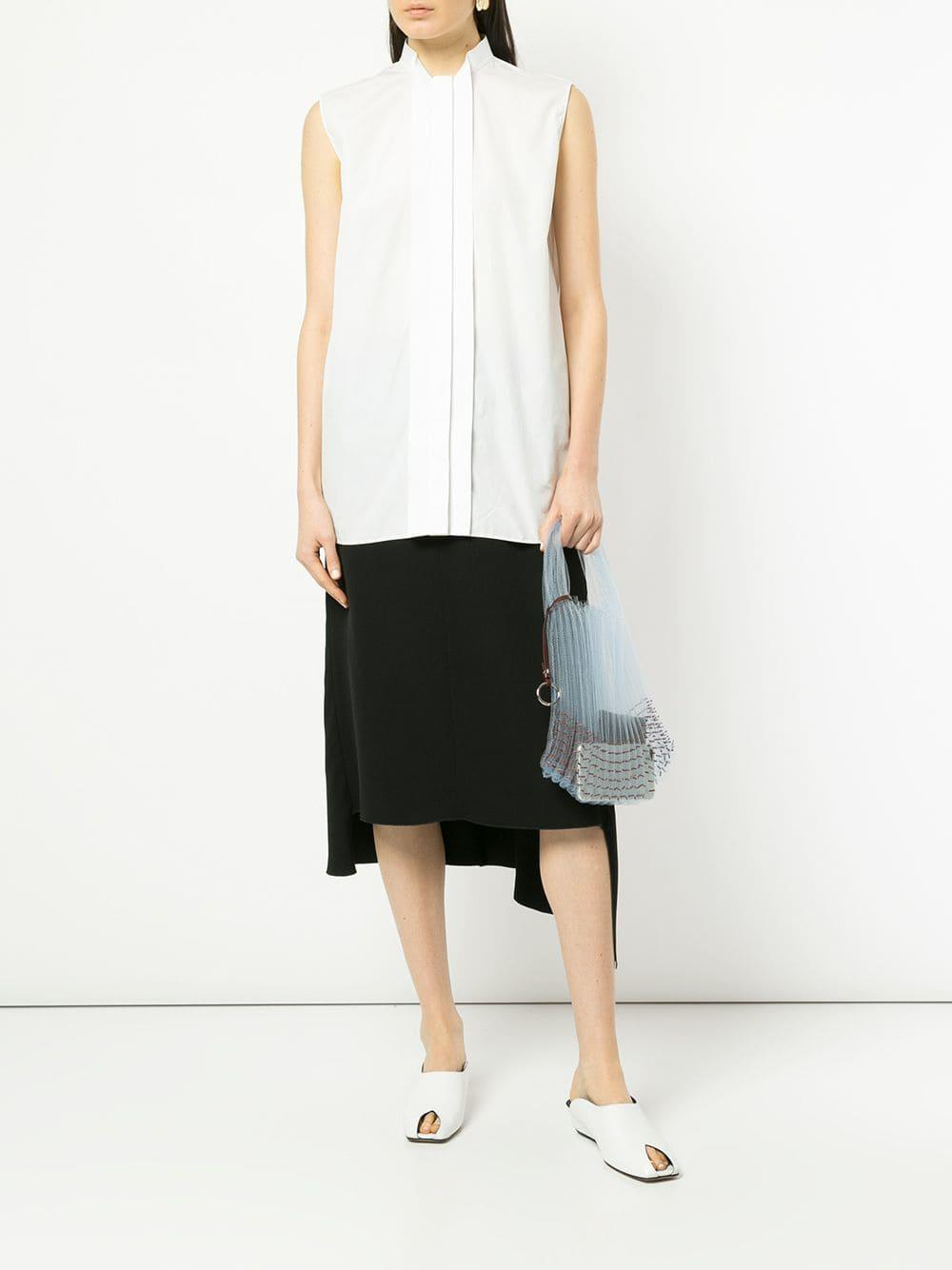 4fe9b029 Jil Sander Sleeveless Band Collar Shirt in White - Lyst