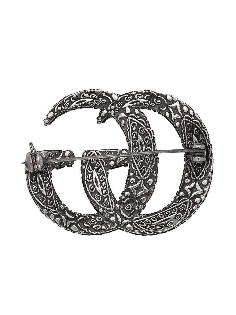 Enameled Double G brooch - Metallic Gucci uivYABtmh