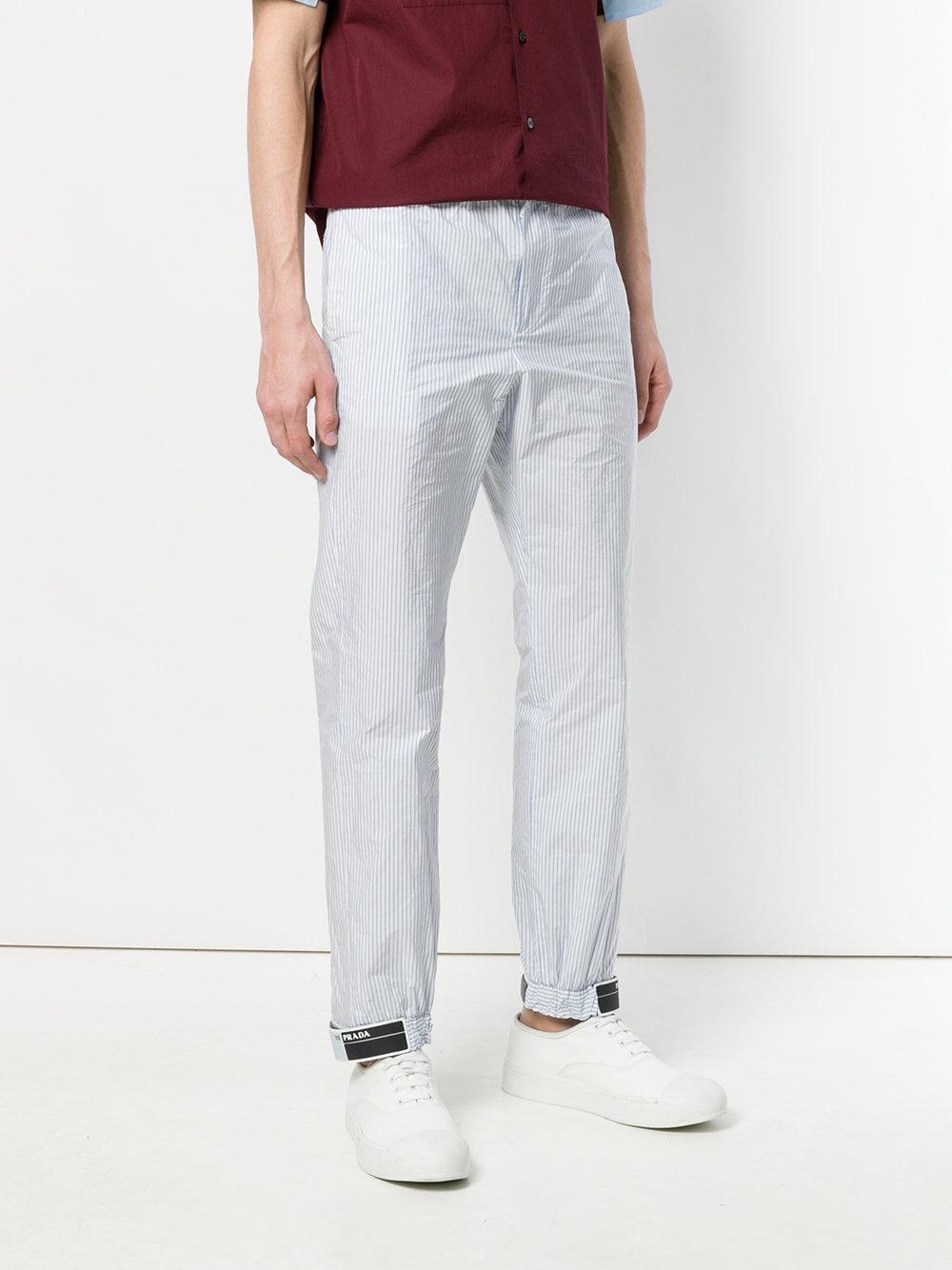 striped logo patch trousers - Blue Prada p3nr4PP