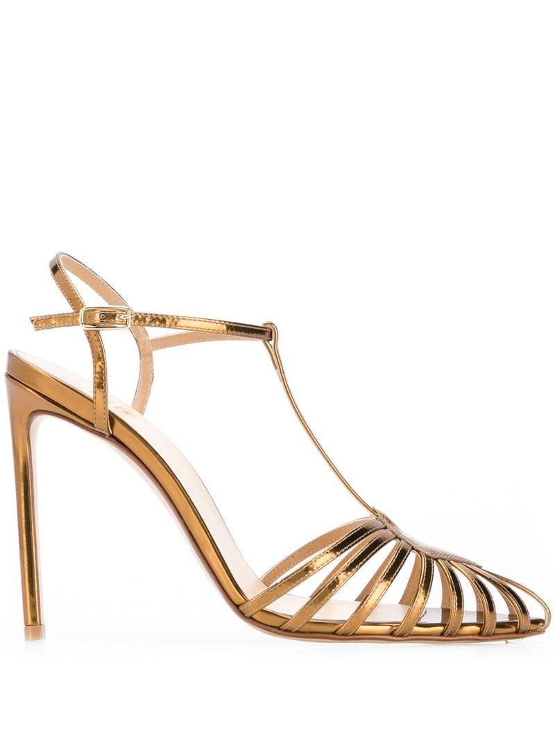 ee0ea299629 Lyst - Francesco Russo Pointed Strappy Pumps in Metallic