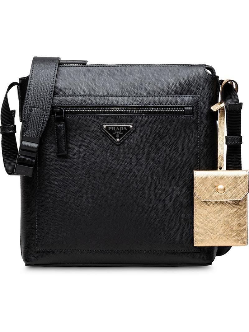 d90e7aad16d2 Prada Saffiano Shoulder Bag in Black for Men - Lyst